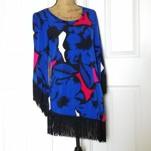 CARMEN fringed abstract print tunic/dress 💓💓
